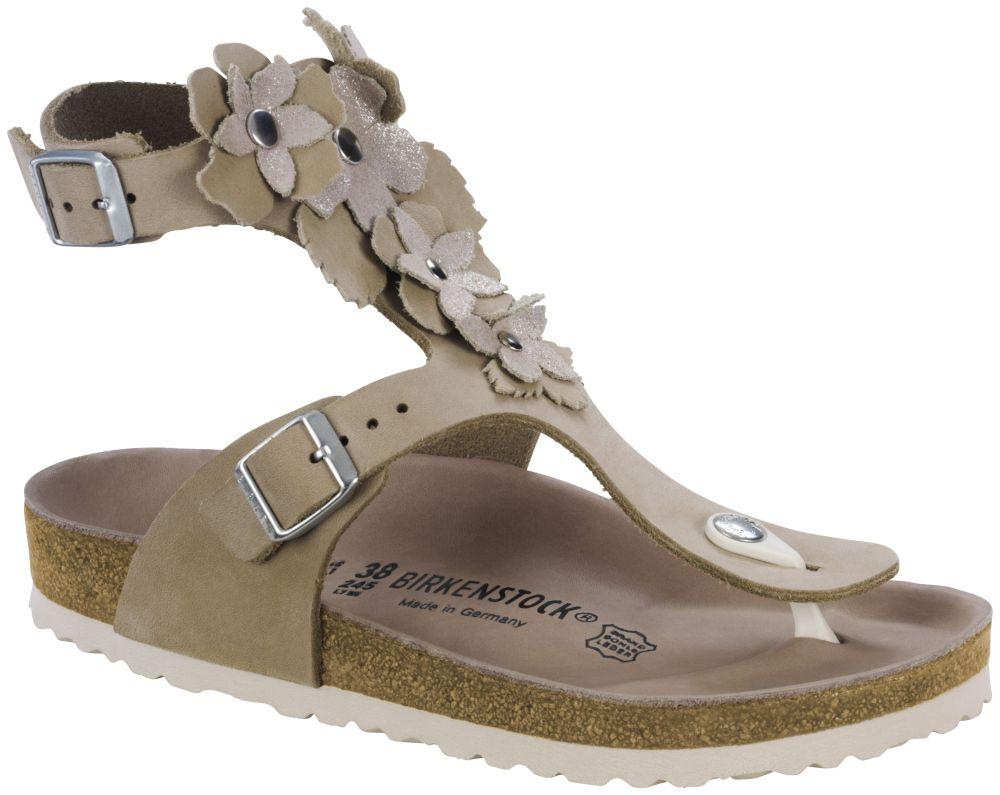 Gizeh High Flower Nude suede leather