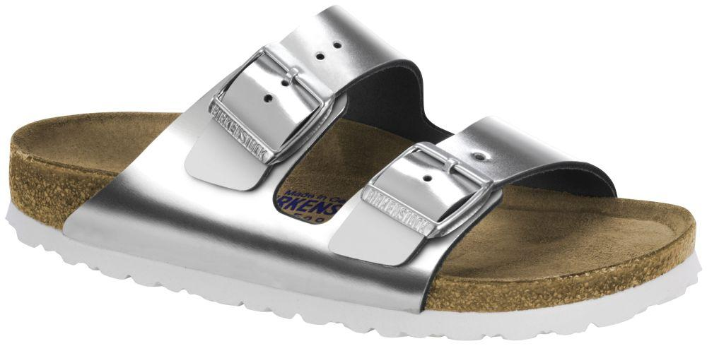 Arizona Metallic Silver Soft Footbed natural leather